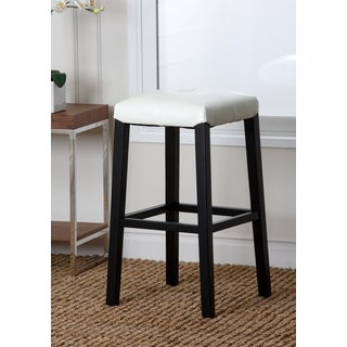 Abbyson Living Mercer Ivory Leather Bar Stool