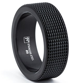 Oliveti Stainless Steel Men's Black Mesh Band Ring (8.5mm)
