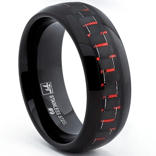 Oliveti Stainless Steel Men's Black Ring with Black and Red Carbon Fiber (8.mm)