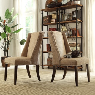 INSPIRE Q Geneva Tan Chenille Wingback Hostess Chairs (Set of 2)