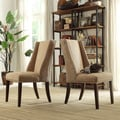 Inspire Q Regency Mocha Chenille Nailhead Wingback Hostess Chairs (Set of 2)