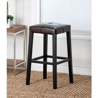 Abbyson Living Mercer Dark Brown Leather Bar Stool