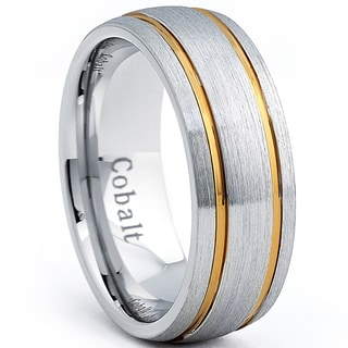 Cobalt Men's Dome Brushed Comfort Fit Band with Gold Plated Grooves (8 mm)