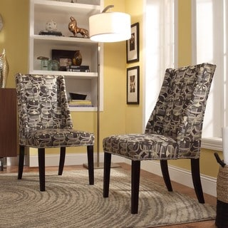 Inspire Q Regency Fun Geometric Nailhead Wingback Hostess Chairs (Set of 2)