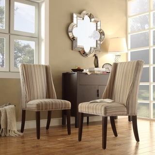 Inspire Q Regency Montgomery Striped Nailhead Wingback Hostess Chairs (Set of 2)