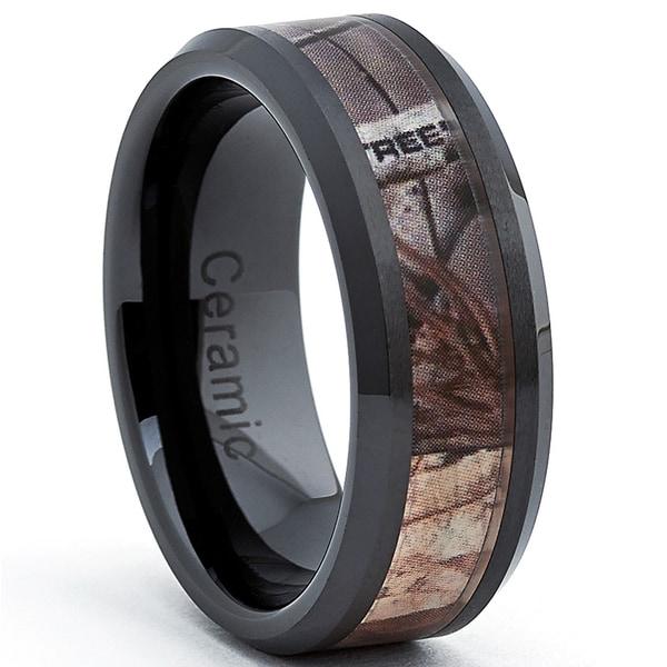 Black Ceramic Hunting Camo Ring (8 mm)