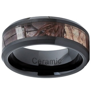 Black Ceramic Hunting Camo Ring (8 mm)