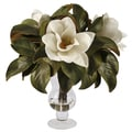 White Magnolias In Glass Vase 20-inch Decorative Plant