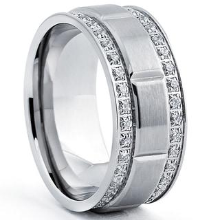 Titanium Men's Ring with Double Row Cubic Zirconia (9mm)