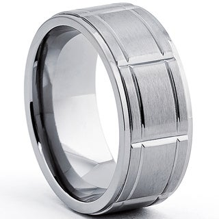 Oliveti Men's Titanium Ring With Grooves, Comfort Fit (9mm)