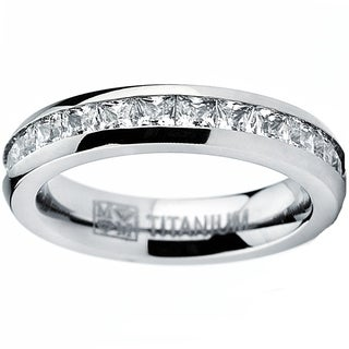 Women's Titanium Princess Cut Cubic Zirconia Eternity Ring