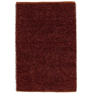 Handwoven Rust Polyester Shaggy Rug (6' x 9')