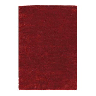 Handwoven Fine Red Polyester Shaggy Rug (4' x 6')