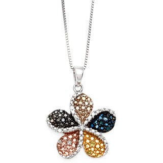 Sterling Silver Diamond Accent Multicolored Flower Pendant Necklace