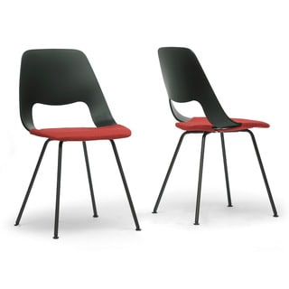 Vimm Black and Red Modern Dining Chair (Set of 2)