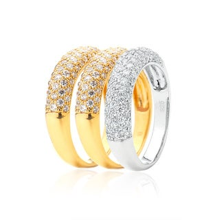 Blue Box Jewels Gold and Rhodium-plated Silver Cubic Zirconia Stacking Ring Set
