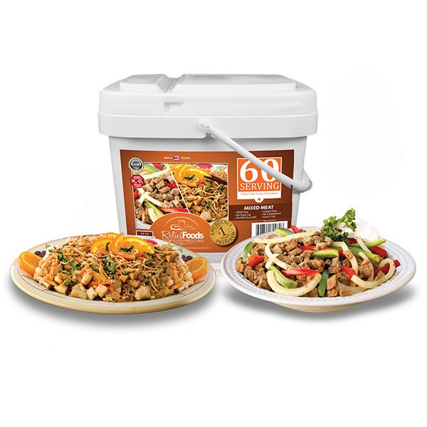 Relief Foods Freeze Dried Chicken & Beef Bucket (60 Servings)