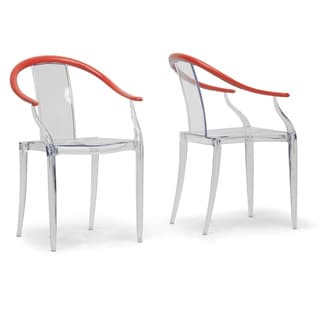 Pru Clear and Red Modern Dining Chairs (Set of 2)