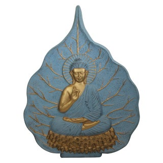Resin Slate/ Gold Bodhi Leaf Buddha Wall Art (Vietnam)