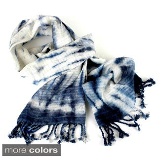 Handwoven Natural Tie Dye Cotton Scarf (Guatemala)