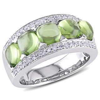 Miadora 14k White Gold Peridot and 1/4ct TDW Diamond Ring (G-H, I1-I2)