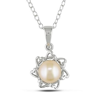 Miadora Sterling Silver Pearl Necklace (6 mm)
