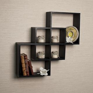 Intersecting Squares Decorative Black Wall Shelf