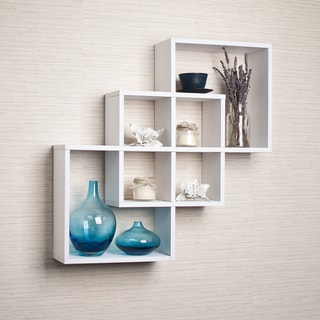 White Intersecting Squares Decorative Wall Shelf