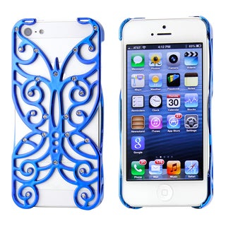 Gearonic Chrome Rhinestones Butterfly Pattern PC Case Cover for iPhone 5 5S