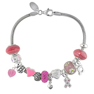 Miadora Sterling Silver Pink Glass and Cubic Zirconia Charm Bracelet