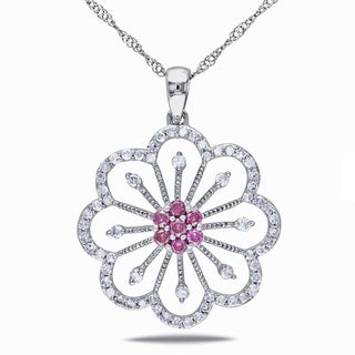 Miadora 14k Gold 1/2ct TDW Pink and White Diamond Flower Necklace (I1-I2)