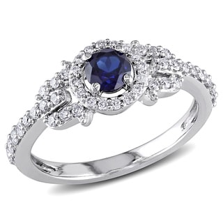 Miadora 14k White Gold Created Sapphire and 1/3ct TDW Diamond Ring (G-H, I1-I2)