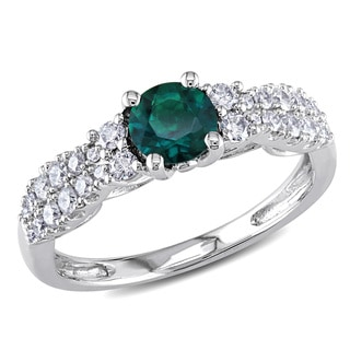 Miadora 14k White Gold Created Emerald and 1/3ct TDW Diamond Ring (G-H, I1-I2)
