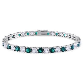 Miadora Sterling Silver Created White Sapphire and Emerald Bracelet