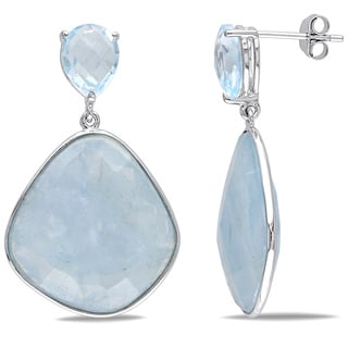 Miadora Sterling Silver Blue Topaz and Aquamarine Earrings