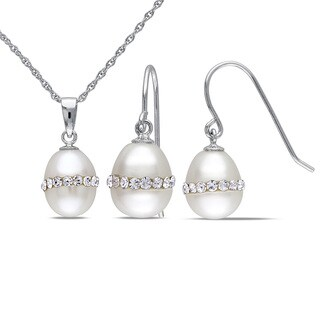 Miadora Silver 2-piece Set of Pearl and Crystal Necklace and Earrings (8-9 mm)