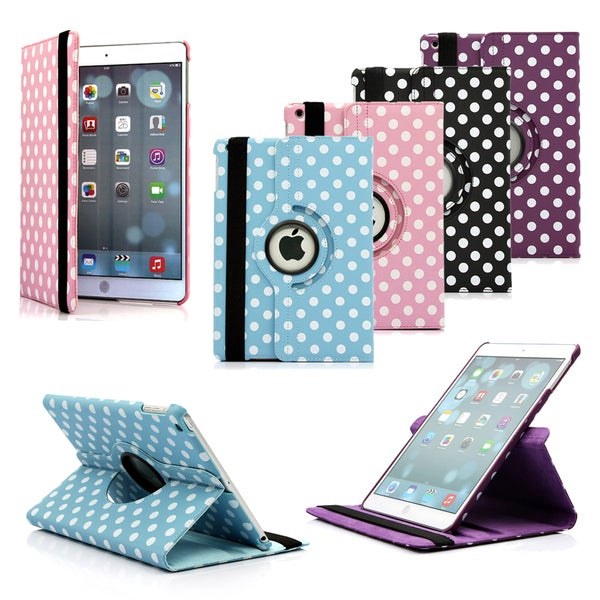 Gearonic Rotating PU Leather Polka Dot Case Cover for Apple iPad 5 Air