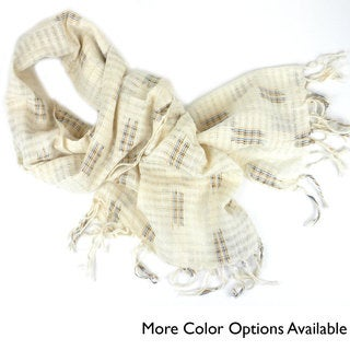 Handwoven Wide Lightweight Open Weave Scarf (Guatemala)
