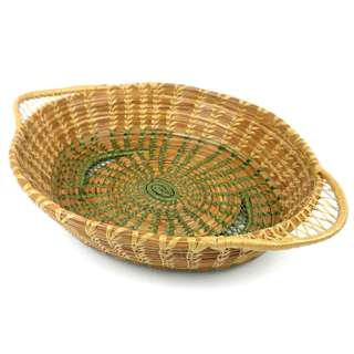 Handmade Pine Needle Oval Basket with Green Trim (Guatemala)