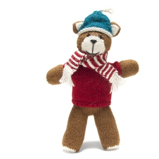 Handmade Alpaca Wool Holiday Teddy Bear (Peru)