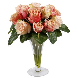 Peach Roses In Trumpet Glass Vase 14-inch Decorative Plant