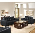 Whitney Black Leather Modern Sofa Set with Bonus 2-PK Cube Ottoman