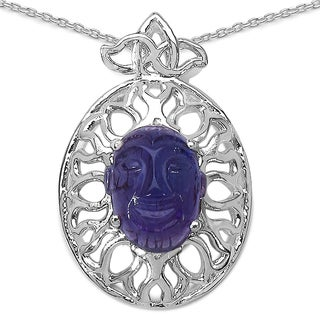 Sterling Silver 5 4/5ct Genuine Oval-cut Amethyst Necklace