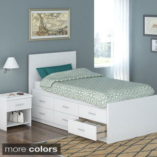 Sonax 4-piece Twin-size Captain's Storage Bed Set with Flat Headboard, Tall Dresser and Nightstand