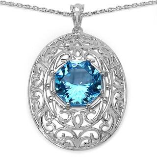 Sterling Silver 9 3/5ct Genuine Fancy-cut Swiss Blue Topaz Pendant