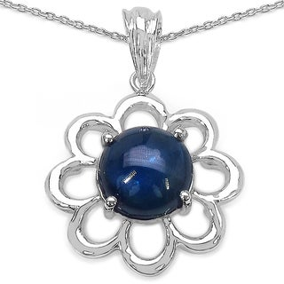 Sterling Silver 4 3/5ct Genuine Round-cut Blue Sapphire Pendant