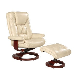 Memory Foam White Ice Bonded Leather Comfort Chair with Ottoman