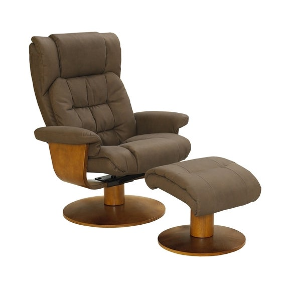 Memory Foam Brown Chocolate Bonded Leather Comfort Chair with Ottoman