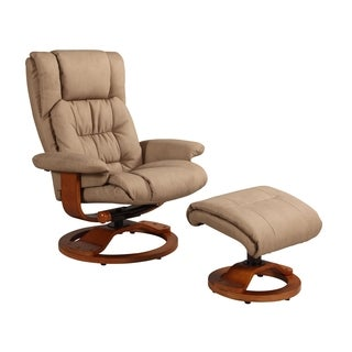 Memory Foam Tan Stone Bonded Leather Comfort Chair with Ottoman