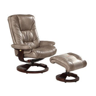 Memory Foam Grey Cloud Bonded Leather Comfort Chair with Ottoman